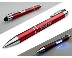 Plastové kuličkové pero OLEG LIGHT s podsvícením gravírovaného loga a stylusem - červená
