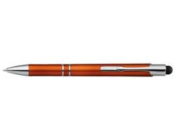 Plastové kuličkové pero OLEG LIGHT s podsvícením gravírovaného loga a stylusem - oranžová