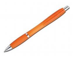 Plastové kuličkové pero DARBY FROSTY s klipem - transparentní oranžová