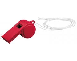 Plastová píšťalka ARBITER s textilní šňůrkou - červená