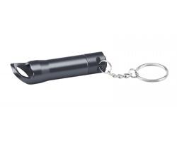Kovová LED svítilna TORCHEN s otvírákem a kroužkem na klíče - šedá
