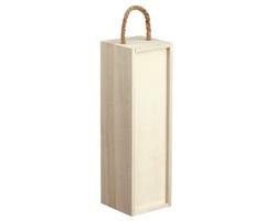 Dřevěná dárková krabice na víno WOODEN s provazovým uchem - natural (přírodní)