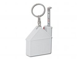 Plastový metr ve tvaru domu HOUSE s kroužkem na klíče, 1m - bílá