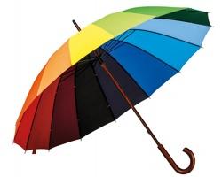 Pylyesterový manuální barevný deštník DUHA s dřevěnou rukojetí