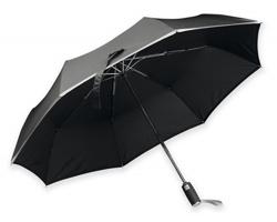 Polyesterový skládací deštník Santini UMA s reflexním pruhem - černá