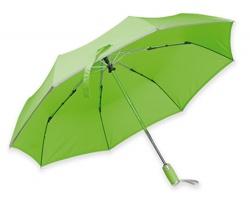 Polyesterový skládací deštník Santini UMA s reflexním pruhem - reflexní zelená