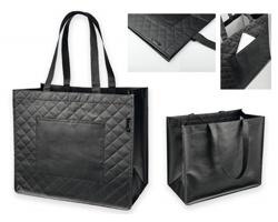 Netkaná nákupní taška Santini ARLETA s geometrickým vzorem - černá