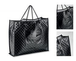 Značková nákupní taška z netkané textilie Santini KARISSA s doplňkovou kapsou - černá