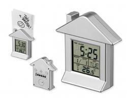 Plastové stolní multifunkční hodiny VILLA s magnetem - stříbrná