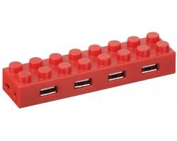 Plastový USB rozbočovač LEGOLAS ve tvaru lega - červená