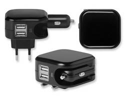 Plastová autonabíječka RION s EU zástrčkou a 2 USB porty - černá