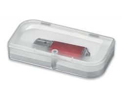 Plastová krabička na USB flash disk USB BOX IV s uzavíráním na magnet - transparentní