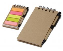Ekologický zápisník ALF s lepicími papírky a perem - natural (přírodní)