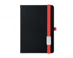 Poznámkový zápisník LANYBOOK s gumičkou, 140x205mm - červená