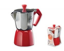 Značková moka konvice Tescoma TRE CAFFÉ na 3 šálky espressa, 200 ml - červená