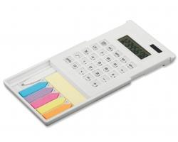 Plastová kalkulačka ZIGGY s lepicími papírky a kuličkovým perem - bílá