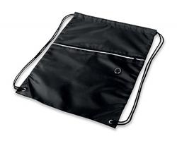 Polyesterový stahovací batoh GARU s otvorem pro sluchátka - černá