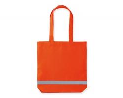 Polyesterová bezpečnostní nákupní taška FINNO s reflexním pruhem - oranžová