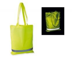Polyesterová bezpečnostní nákupní taška FINNO s reflexním pruhem - žlutá