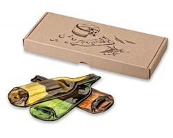 Ručně vyráběné skleněné servírovací prkénko SERVISO tvaru vinné lahve - transparentní