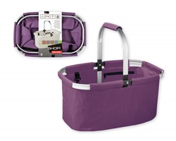 Značkový skládací nákupní košík Tescoma SHOPERO s pevným uchem - fialová