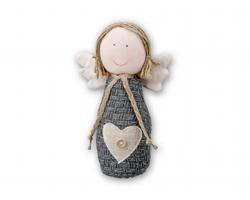 Textilní vánoční ozdoba ANGELS - šedá