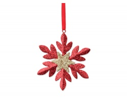 Vánoční ozdoba SNOWFLAKE ve tvaru sněhové vločky - červená