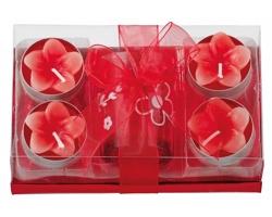 Vánoční sada LILIAN se svícnem a 4 svíčkami - červená