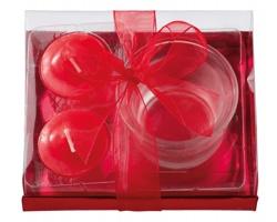 Vánoční sada SHINER se svícnem a 2 svíčkami - červená