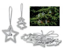 Vánoční ozdoby s glitry GLOTIE, 4 ks - stříbrná