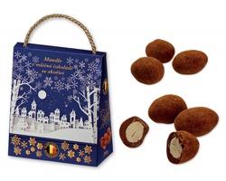 Vánoční balení mandlí v mléčné čokoládě CINNAMON ALMONDS se skořicí, 200 g - tmavě modrá