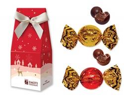 Vánoční balení mléčných a hořkých pralinek CHRISTMAS CANDY v dárkové kazetě, 54 g