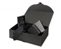 Sada peneženky a kravaty Santini LAMBERT SET v dárkovém boxu - černá
