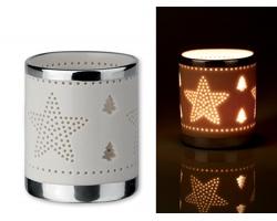 Keramický svícen STARSHINE s vánočním motivem - bílá
