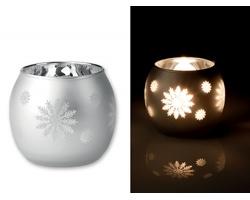 Skleněný vánoční svícen CANDLEFLAKE s motivem sněhových vloček - stříbrná