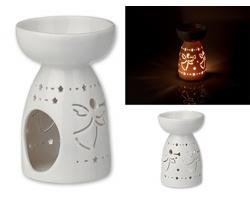 Keramická aromalampa LAMPRONA s vánočním motivem - bílá