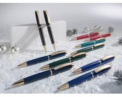 Sada klasického psacího pera a kuličkového pera ANDALUS dekorovaných zlatem - černá