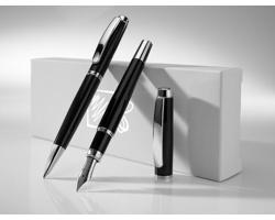 Sada kovových psacích potřeb GLADS se zlatým dekorem, 2 doplňky - černá