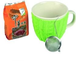 Značková čajová sada porcelánového hrnku se svetrem Vanilla Season GOA, 400 ml, se 2 doplňky - zelená
