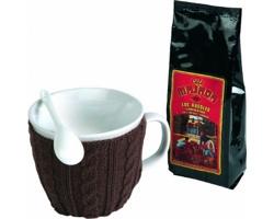 Značková kávová sada keramického hrnku se svetrem Vanilla Season MAHAL, 400 ml, se 2 doplňky - hnědá