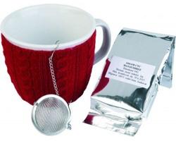 Značková čajová sada keramického hrnku se svetrem Vanilla Season HAMPI, 400 ml, se 2 doplňky - červená