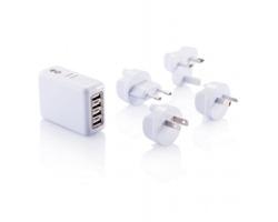 Cestovní zástrčka VOIDANCE se 4 USB porty - bílá
