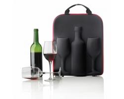 Pouzdro ARTHUR na víno s 2 skleničkami - červená