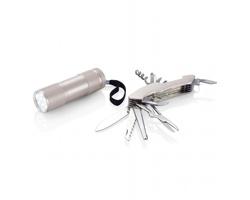Outdoorový set WASP s kapesním nožem a svítilnou - stříbrná