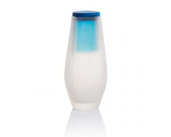 Skleněná láhev na vodu DULLY s kalíškem, 0,5 l - modrá