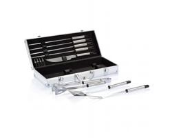 Barbecue set JINX v hliníkovém boxu, 12ks - stříbrná