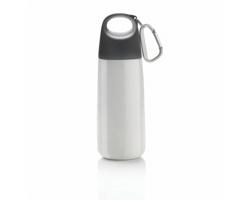Nerezová láhev na pití DION s karabinou, 350ml - bílá