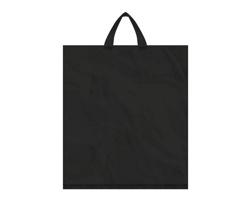 Igelitová PE taška černá - 400x460mm, páskové ucho a složené dno