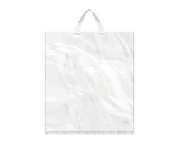 Igelitová PE taška bílá - 400x460mm, páskové ucho a složené dno