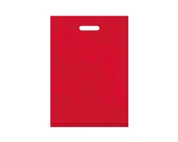 Igelitová PE taška červená - 350x500mm, pevný průhmat a složené dno